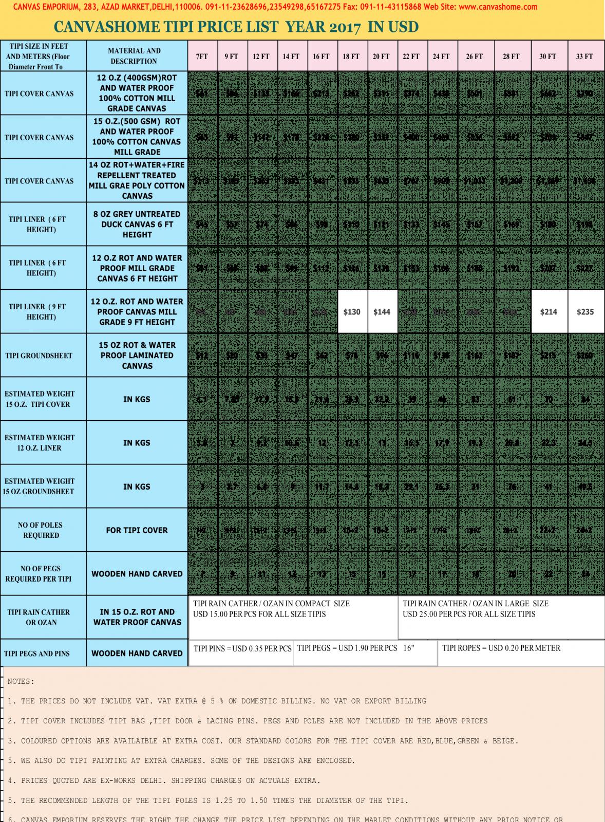 tipi price list